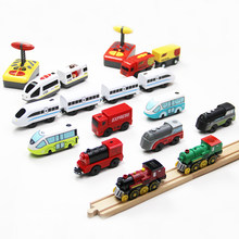 remote Electric small locomotive Wooden Railway Train Magnetically Connected Boys and Children's Intelligence Toys(China)