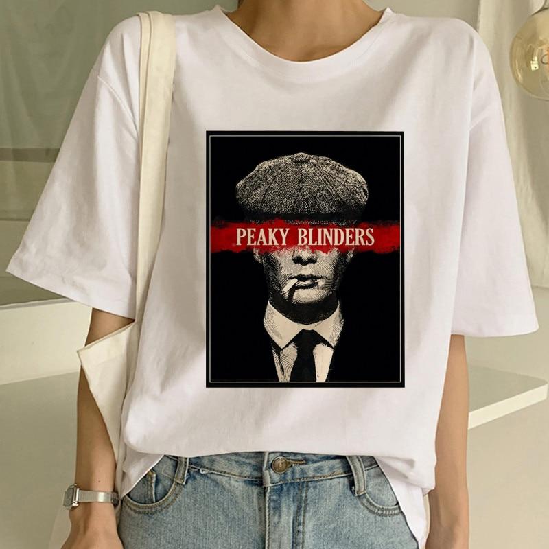 Maycaur Peaky Blinder 여성 T 셔츠 하라주쿠 Ullzang 그래픽 Tshirt 재미있는 멋진 90s Tshirt 미적 한국 스타일 탑 티 여성