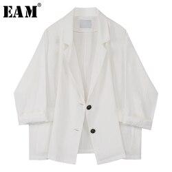 [EAM] Frauen Weiß Kurze Dünne Große Größe Blazer Neue Revers Lange Hülse Lose Fit Jacke Mode Flut Frühjahr herbst 2020 1X223
