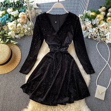 US $16.14 21% OFF|Neploe 2019 Autumn Winter New Elegant Retro Velet Dress Party High Waist Hip A Line Vestido Long Sleeve Lace Black Ropa 47005-in Dresses from Women's Clothing on AliExpress