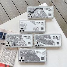 Ins Exclusive City Map Phone Case For iPhone 11Pro Max 6 7 8 Plus X XR XS Max Sketch Letter Clear Soft Silicone Cover Cases