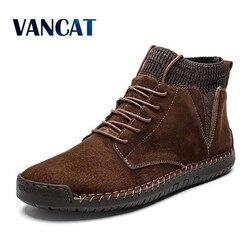 Marca inverno quente botas de neve de alta qualidade vaca camurça homem tornozelo botas de pele dos homens sapatos de pelúcia outono básico unidade botas tamanho grande 48