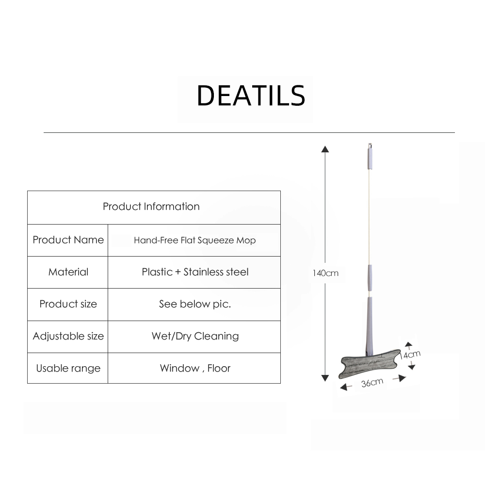 Manual Extrusion Floor Mop Hand Free Washing Flat Mop With Microfiber Replace Pads Easy Wringing Household