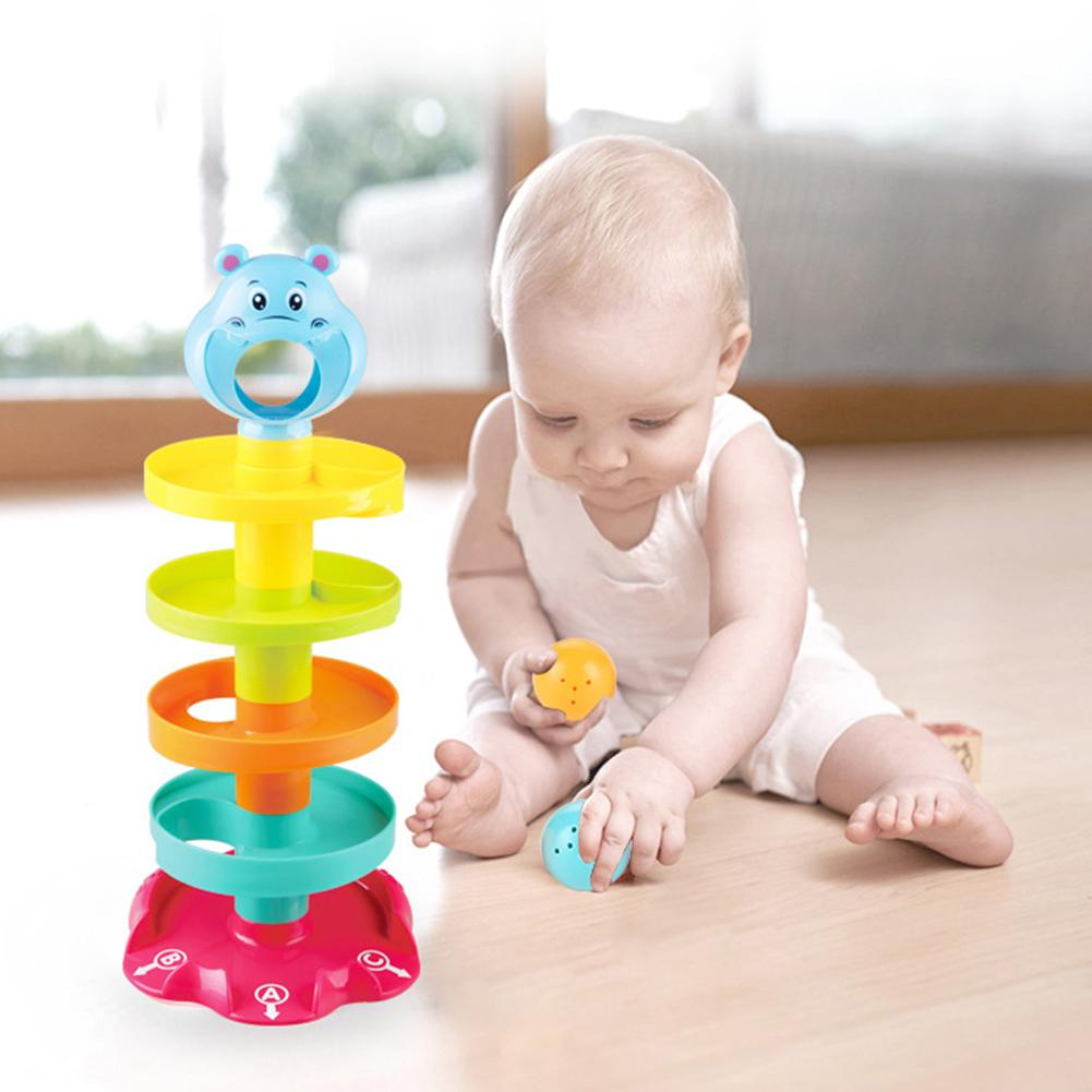 5-Layer Tower DIY Puzzle With Swirling Ramps Rolling Balls Development Kids Toy  Ramp Ball Toy