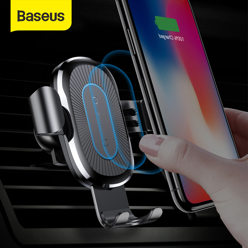 Baseus Qi Wireless Car Charger Gravity Car Phone Holder 10W Fast Charging Stand Auto Air Outlet Stand Support For IPhone Samsung