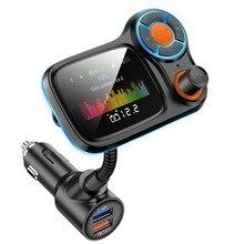 По Bluetooth 5.0 FM-передатчик автомобильный комплект громкой связи поддержка КК 3.0 и двумя USB автомобильное быстрое зарядное устройство с большим цветным экраном, MP3-плеер