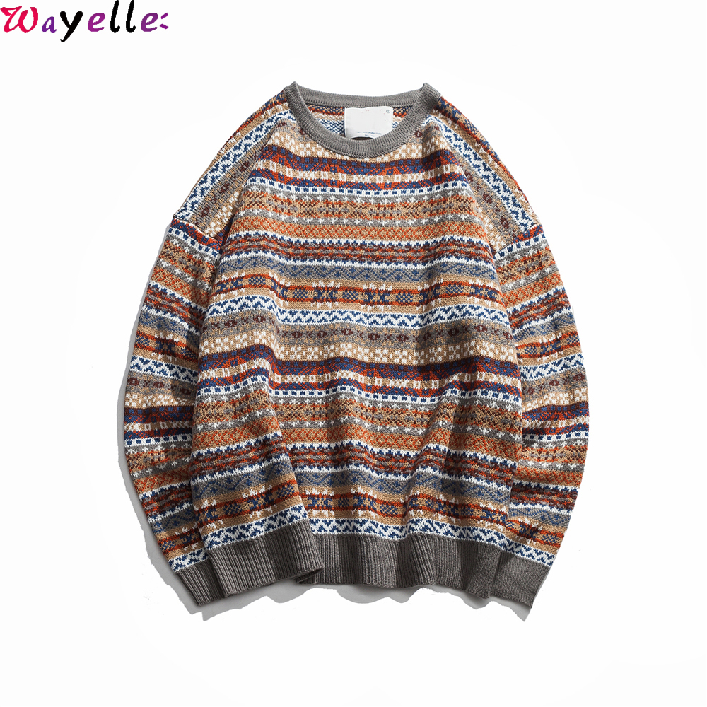 Vintage Sweaters Men Pullovers 2018 New Autumn Fashion O-neck Loose Oversized