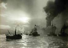 Rms mauretania deixando o tyne 1907 vintage antigo cartaz de sinal de estanho de metal marítimo