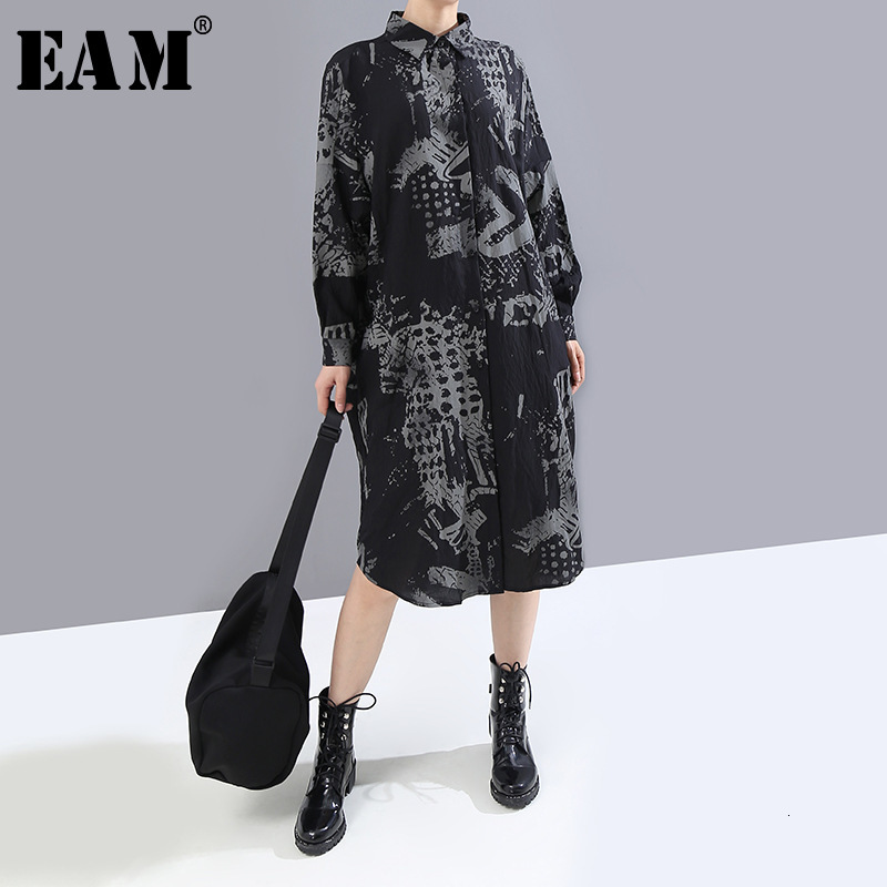 [EAM] Women Black Pattern Printed Big Size Shirt Dress New Lapel Long Sleeve Loose Fit Fashion Tide Spring Autumn 2020 1M814