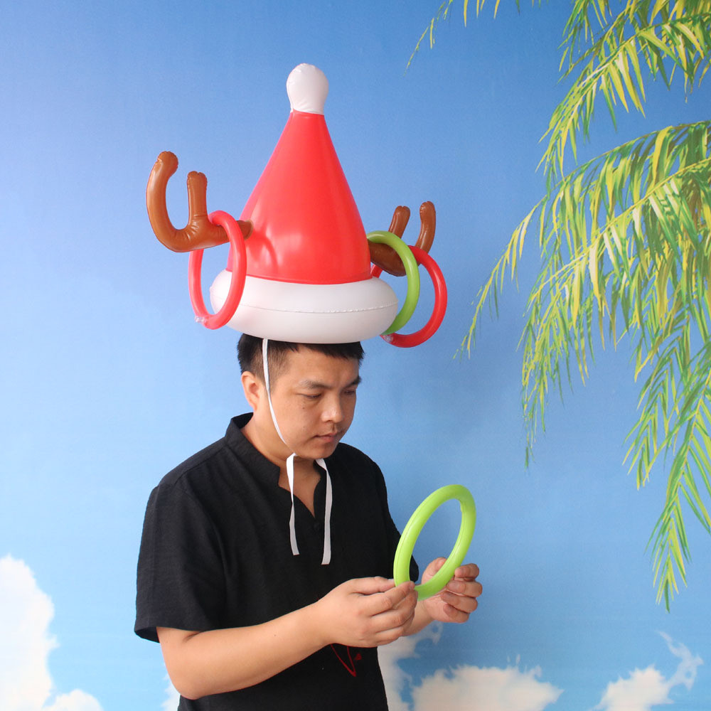 Kids Toys Inflatable Reindeer Christmas Hat Antler Ring Toss Holiday Party Game Toys For Children Christmas Gift