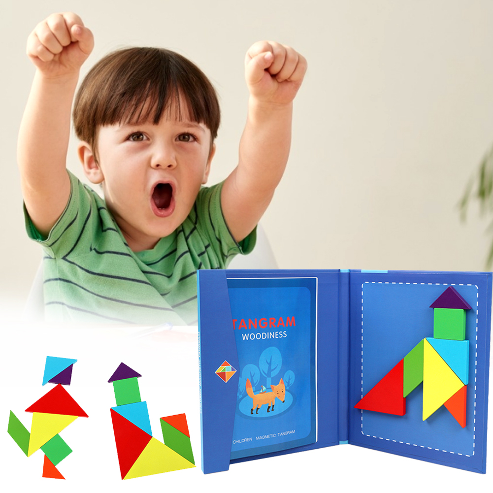 3D Magnetic Puzzle Jigsaw Tangram Game Montessori Learning Educational Drawing Board Games Toy Gift For Children Brain Tease