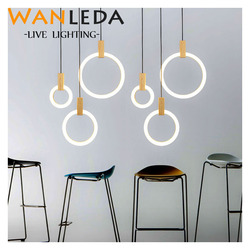 Modern LED Wooden chandeliers Nordic living room suspended lamp bedroom fixtures stair lighting illumination ring hanging lights
