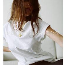 2021 verão espera algodão t cor sólida casual o pescoço topos bordado monograma frente manga curta curvo costuras armhole tshirt