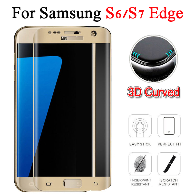 3D Original For Samsung Galaxy S6 S7 Edge Protect Glass Tempered s7edge 7 s 7s 6s Full Cover Curved Screen Protector Phone Film image
