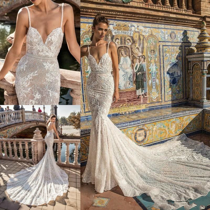 2020 Mermaid Wedding Dresses Spaghetti Lace Applique Sweep Train