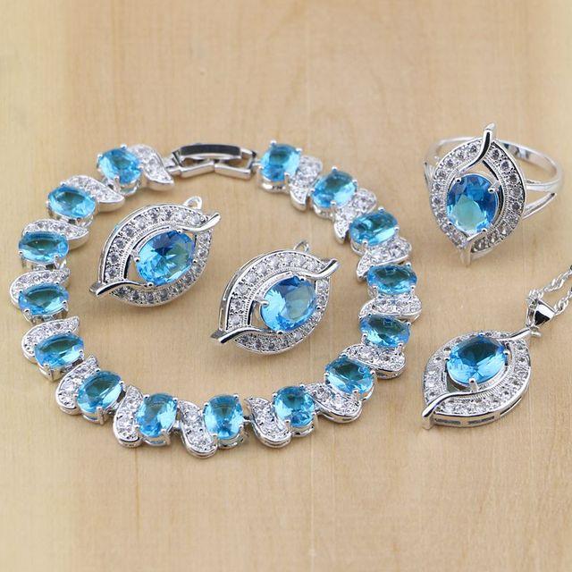 עין סטרלינג תכשיטי כסף כחול מעוקב Zirconia תכשיטי לבן CZ סטי תכשיטי נשים עגיל/תליון/שרשרת/טבעות/צמיד