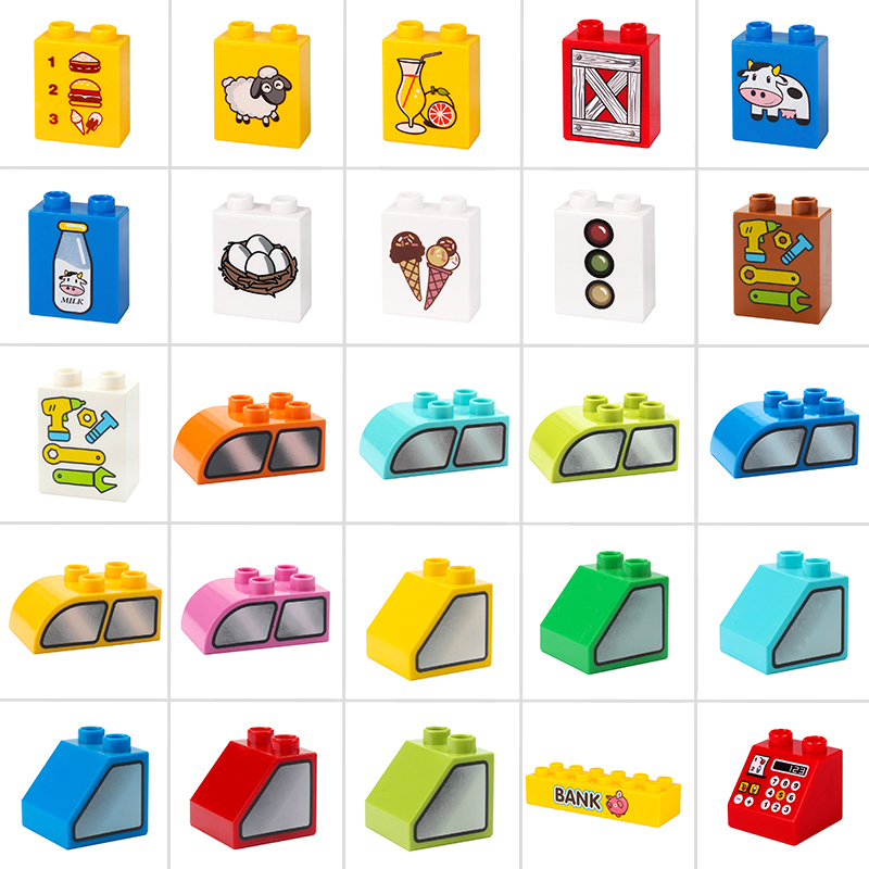 Duplo DIY Accessories Big Size Standard Bricks With Pattern MOC Building Blocks Toy For Children Compatible Parts