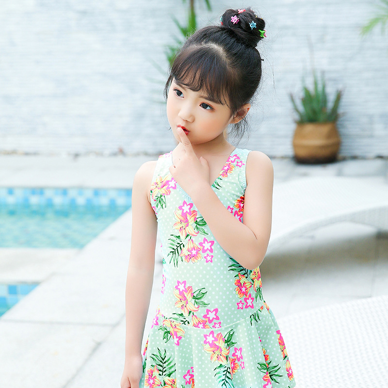 2019 Korean-style Boxer Swimwear One-piece Princess Dress-Cute Children Swim Students Big Boy Baby Girls