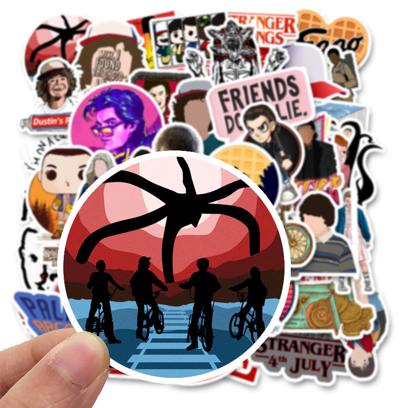 Image 2 - 50 Pcs Stranger Thing Figure Stickers Set refrigerator Sticker For Luggage Skateboard Motorcycle Laptop Waterproof Sticker-in Stickers from Toys & Hobbies