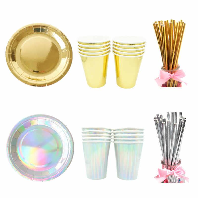 10 ピース/セットゴールド紙使い捨て食器クリスマス誕生日パーティー紙皿コップカーニバルパーティー用品プラスチックストロー