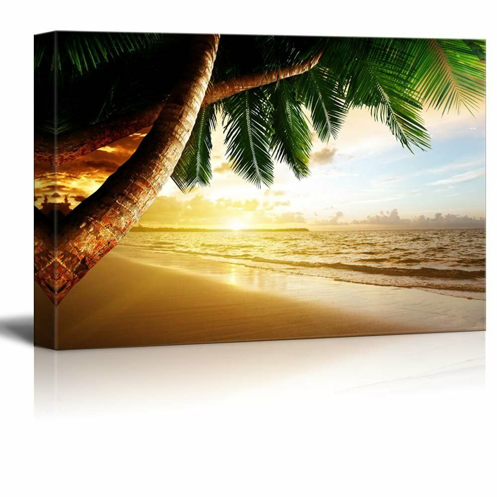Canvas Prints Wall Art Sunrise on Caribbean Beach Palm Trees Print Wall Art Picture Landscape Picture Wall Poster Decoration image