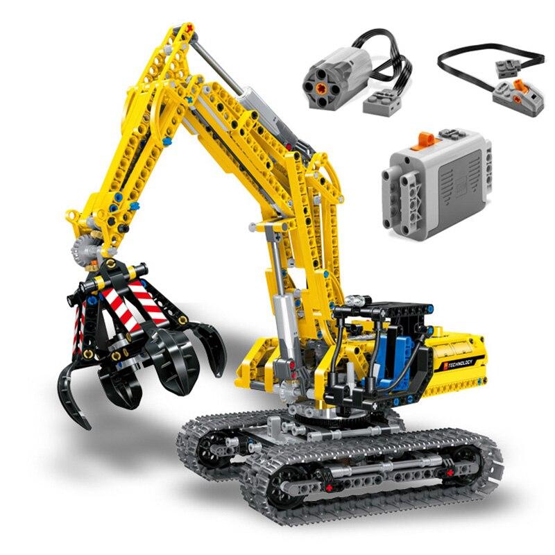 RC Excavator Electric Track Car 2 In 1 Building Blocks 720PCS Technic Engineering Excavator Blocks Bricks Toys For Children