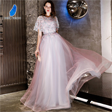 DEERVEADO Elegant A Line Tulle Long Evening Dress Gown Robe De Soiree Formal Dress Occasion Party Dresses YS444