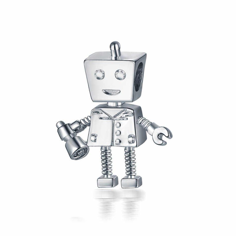 Gümüş kaplama boncuk Rob Bot Charm Fit Pandora bilezik bileklik kadınlar için DIY takı yapımı