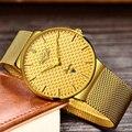 LG, модные мужские часы, Топ бренд, роскошные, золотые, цвет, кварцевые часы, мужские, стальной сетчатый ремешок, водонепроницаемые, золотые ча...