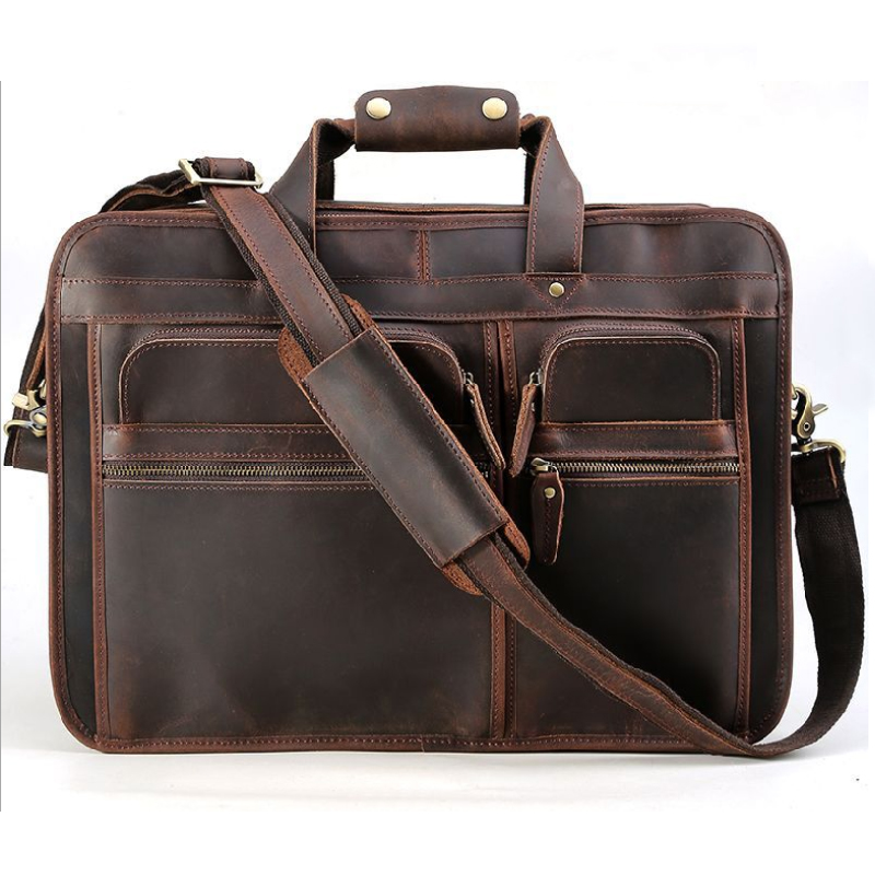 MAHEU High Quality Genuine Leather Men Briefcase Bag Real Cowskin Leather Briefcases 17 Inch Laptop Bag Computer Business Bags
