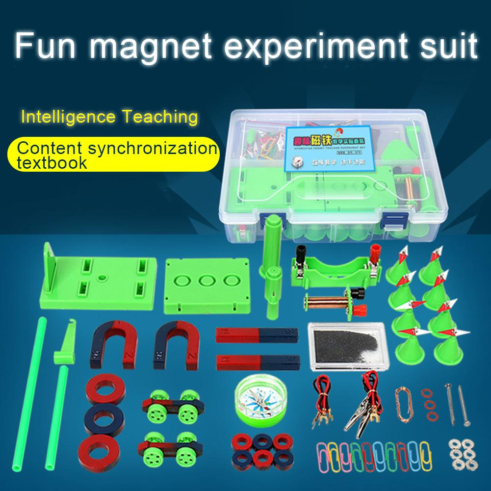 1 Set Kids Science Experiment Kit DIY Magnet Bar Ring Horseshoe Car Compass Kid Science Experiment Tool With Box Educational Toy