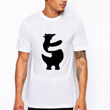 Animal Black White Bears Hugging Cute Love Lovely Funny Joke Men T Shirt Tee Cool Slim Fit Letter Printed Top Tee