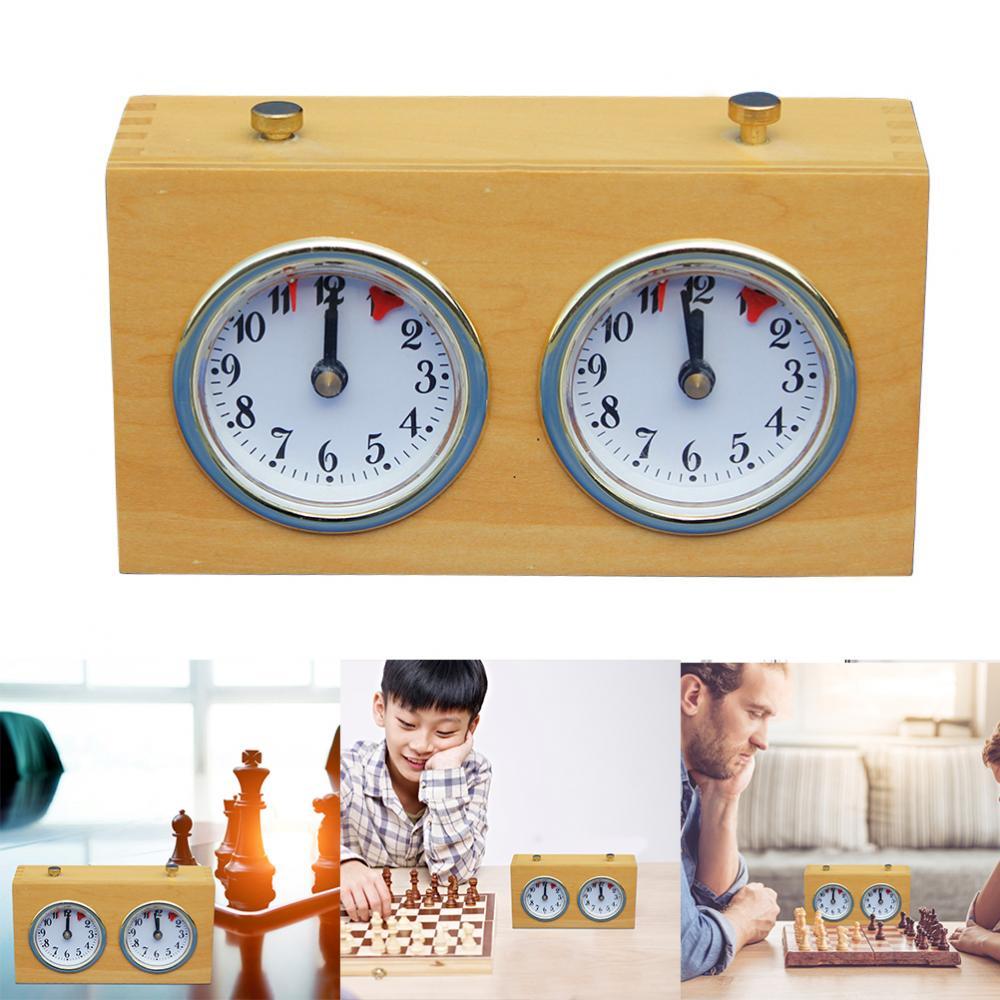 Jeu de compétition en bois horloge d'échecs minuterie cadeau horloge d'échecs analogique minuterie liquidation accessoires mécaniques pour jeux de société