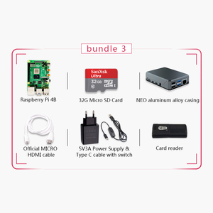 Image 2 - Original Raspberry Pi 4 Model B 2G Kit Pi 4 board Micro HDMI Cable Power Supply With Switch Case With Fan Heat Sinks