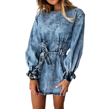 Women Autumn Casual Round Neck Ruched Jeans Dress 2020 Winter Slim Sashes Streetwear Solid Long Petal Sleeve Denim Mini Dress