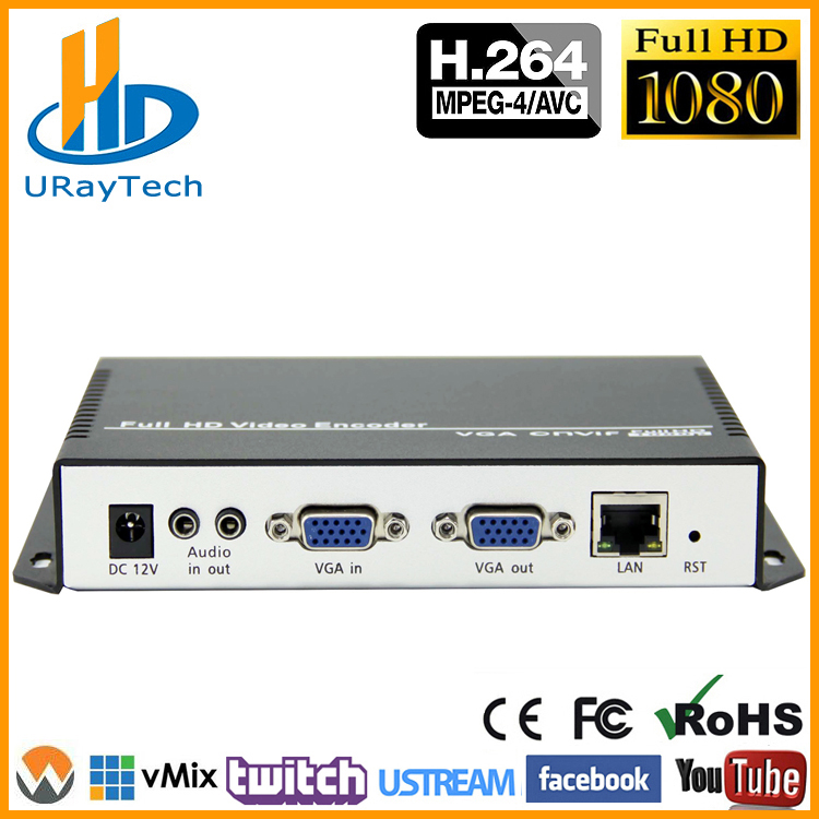 URay H 264 VGA Stereo Audio To IP Stream Encoder IPTV Live Streaming Encoder Support HTTP