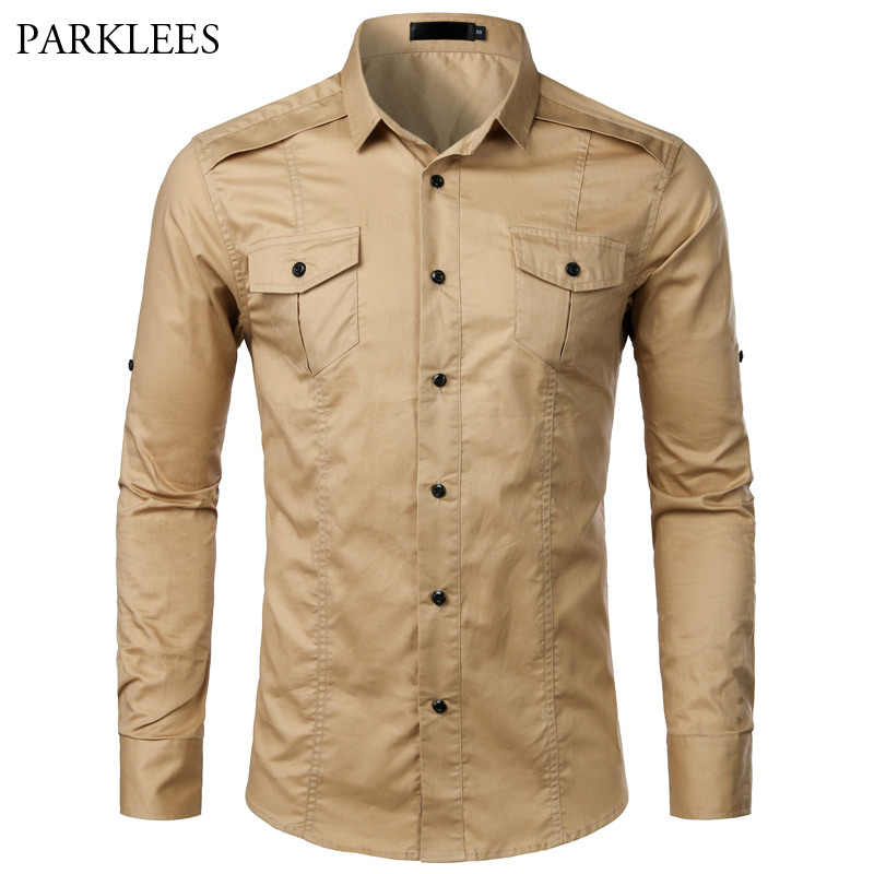 Cotton Cargo Shirt Men Spring Long Sleeve Mens Tactical Twill Work Shirts With Pocket Casual Slim Fit Chemise Homme Khaki S-XXL