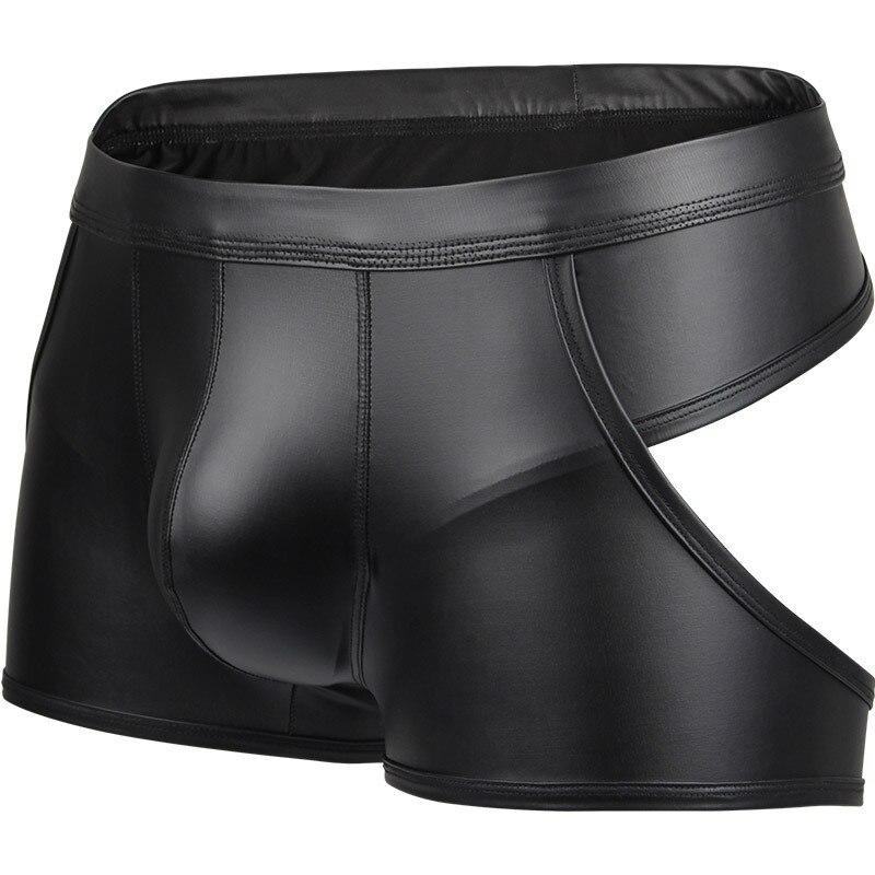 Sexy Gay Underwear Men Hollow Back Jockstrap Faux Leather Lingerie Male Low Waist U Convex Pouch Panties Cueca Calzoncillos S-XL