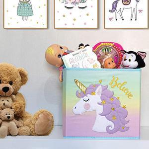 New Unicorn Storage bins Foldable Folding Cube Boxes for Shelves Storage Box Decorative Kids Toys Organizer Rainbow Container(China)