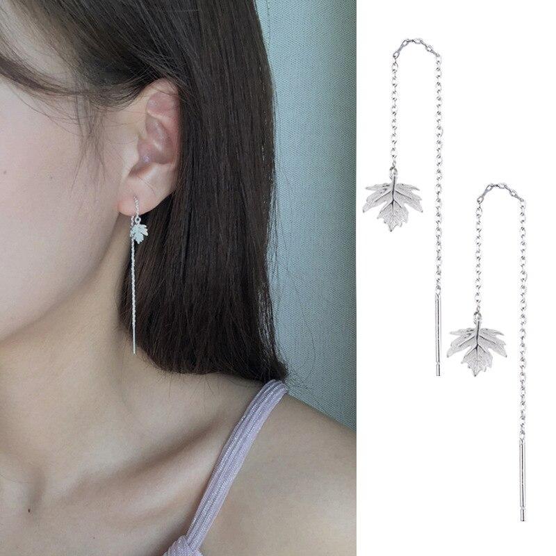 Todorova Minimalist Maple Leaf Earrings for Women Long Tassel Chain Dangle Earrings Ear Thread Threader oorbellen