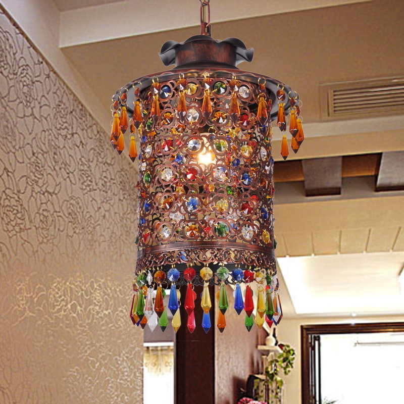 Turkish Bohemia Mediterranean Restaurant Bedroom Lamp Retro Multicolor Bronze Wrought Iron Pendant Lamp A229 lustre pendente
