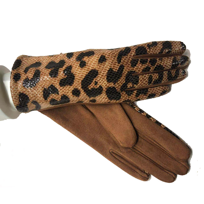 Female Winter Warm Leopard Suede Leather Touch Screen Gloves  Women Sexy Zebra Pattern Cashmere Thicken Driving Gloves H84