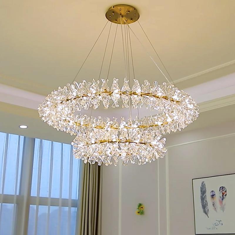 Anel lampara colgante Pingente Lâmpada Luxuoso Cristal Lustre Moderno para Sala de estar Hall de Entrada Do Hotel Lustre de Cristal Luminárias