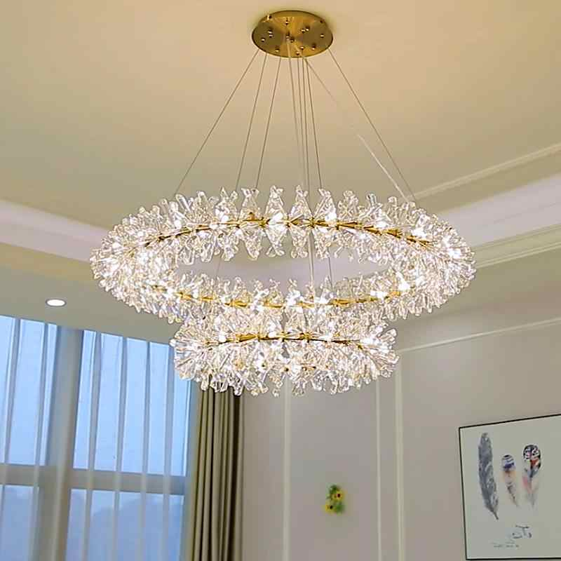 Ring Chandelier Modern Pendant Lamp Luxurious Crystal lampara colgante for Living Room Hotel Foyer Cristal Fixtures Lustre