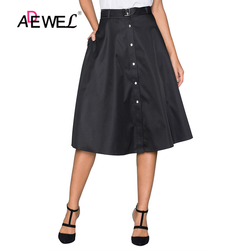 ADEWEL Elegant Retro Style Buttons Front Flared Midi Skirt In Black Skirts Women's Retro Style Buttons Hot A-Line Cute  Skirts