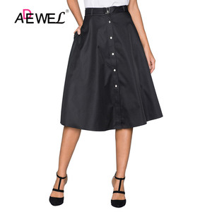 Image 1 - ADEWEL Lady Elegant Retro Style Buttons Front Flared Midi Skirt Black Skirts Womens Buttons Hot A Line Cute Skirts