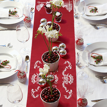 OHEART Holly Leaf Embroidered Christmas Table Runner Tree Elk Xmas Holiday Decorations Red for home 71x13.7