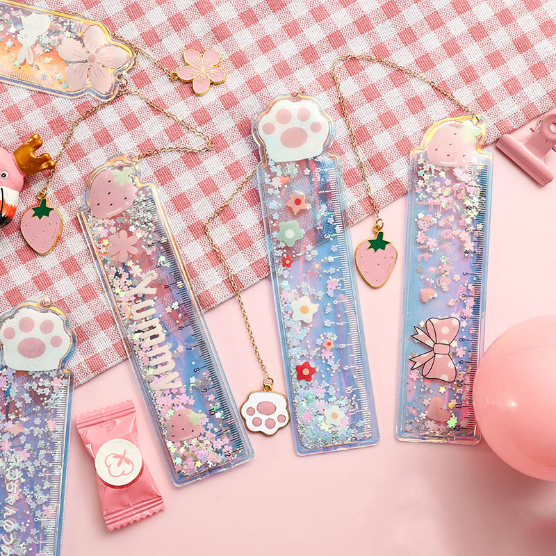 Kawaii Quicksand Sequin Glitter Ruler Cute Mermaid Avocado Ruler With A Pendant Bookmark For Kids Girls Gifts School Stationery