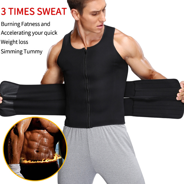 Men's Body Shaper Waist Trainer Sauna Vest Double Belt Sweat Shirt Corset Top Abdomen Slimming Shapewear Fat Burn Fitness Top 1