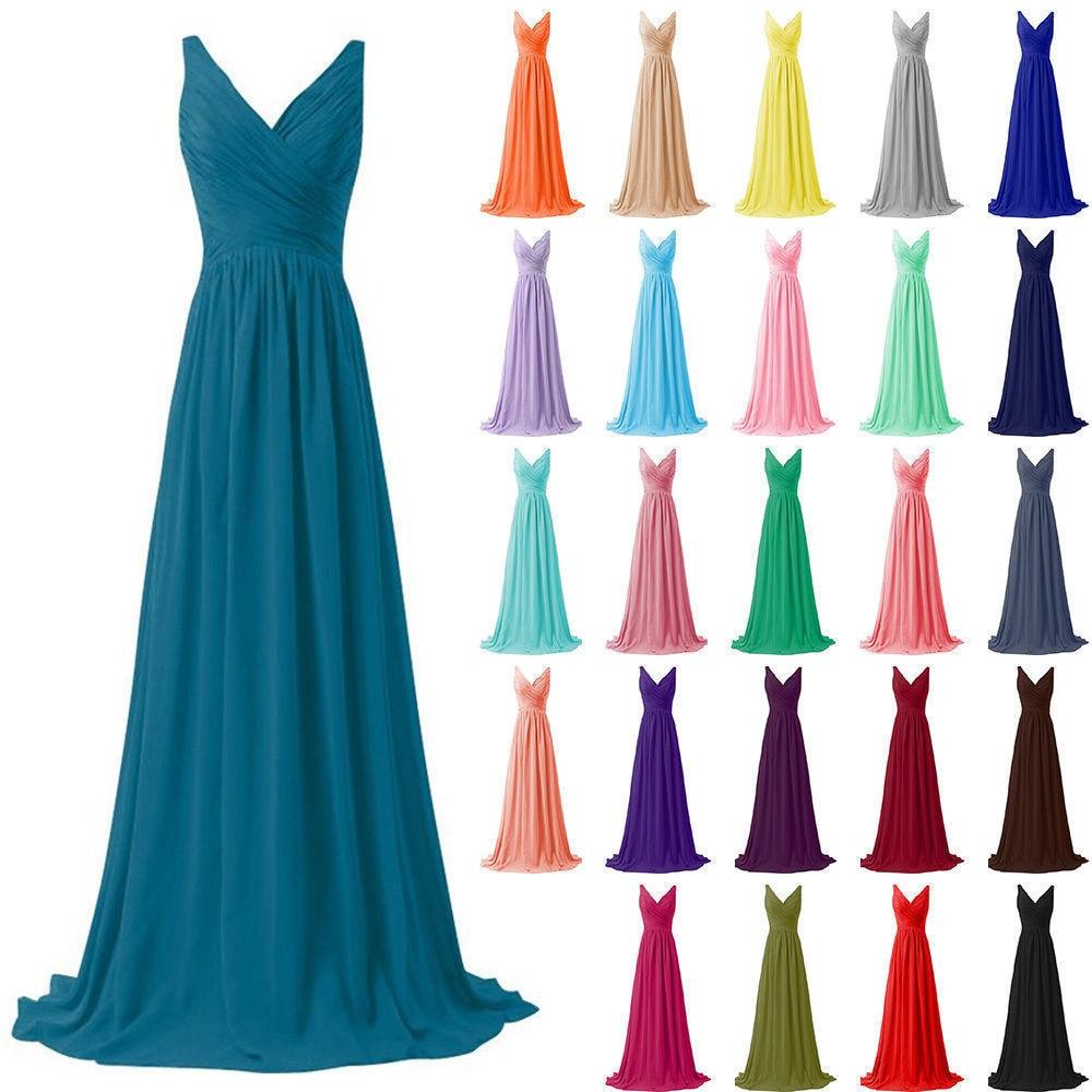A Line Chiffon V Neck Pleat Elegant Off-shoulder Bridesmaid Dresses Wedding Party Dresses Robe De Soiree Lace Up Back